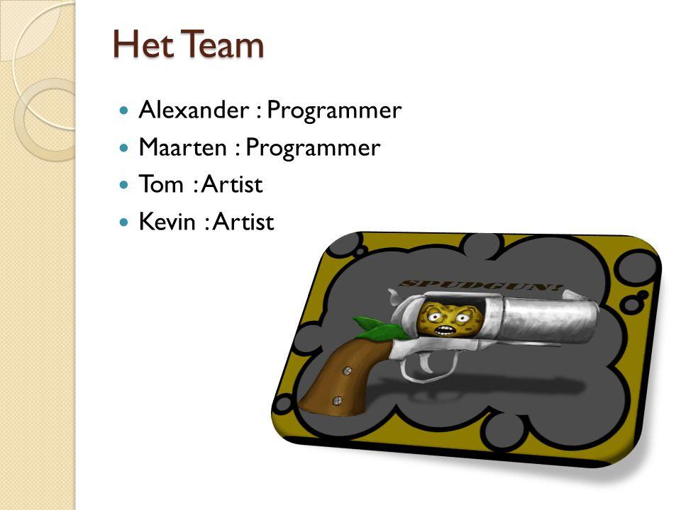 Het Team Alexander : Programmer Maarten : Programmer Tom : Artist Kevin : Artist