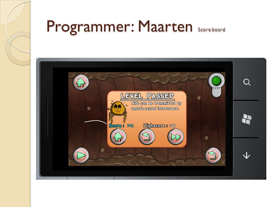 Programmer: Maarten Score board