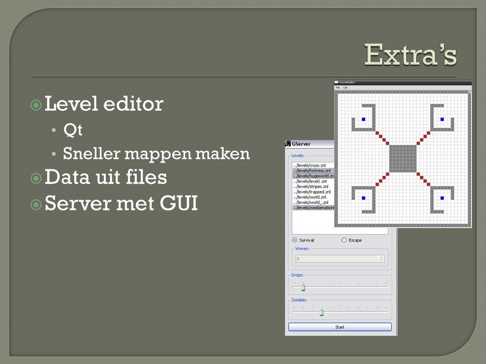  Level editor Qt Sneller mappen maken  Data uit files  Server met GUI