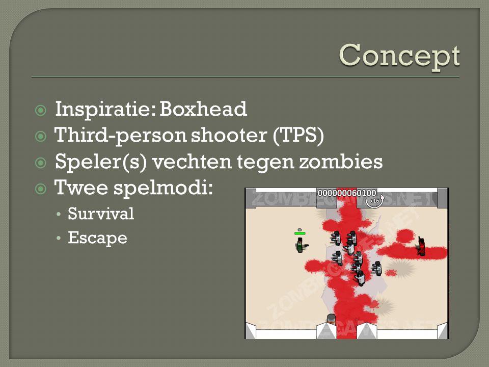  Inspiratie: Boxhead  Third-person shooter (TPS)  Speler(s) vechten tegen zombies  Twee spelmodi: Survival Escape