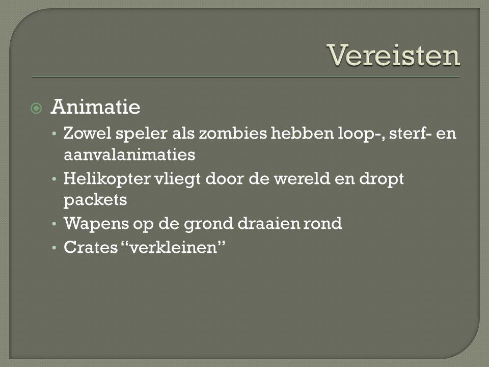  Animatie Zowel speler als zombies hebben loop-, sterf- en aanvalanimaties Helikopter vliegt door de wereld en dropt packets Wapens op de grond draai