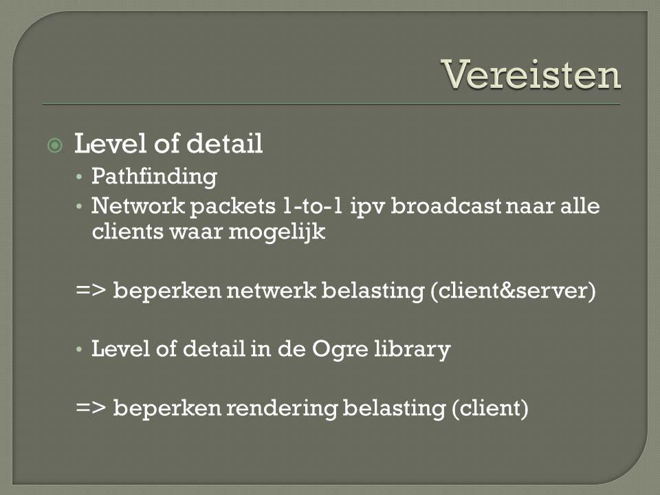  Level of detail Pathfinding Network packets 1-to-1 ipv broadcast naar alle clients waar mogelijk => beperken netwerk belasting (client&server) Level of detail in de Ogre library => beperken rendering belasting (client)