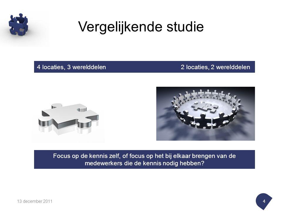 Vergelijkende studie 13 december 20114 Focus op de kennis zelf, of focus op het bij elkaar brengen van de medewerkers die de kennis nodig hebben.