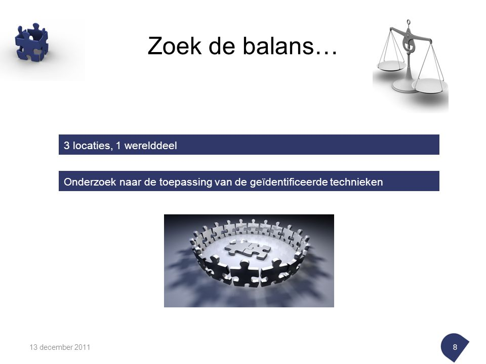 Zoek de balans… 13 december 20118 3 locaties, 1 werelddeel Onderzoek naar de toepassing van de geïdentificeerde technieken