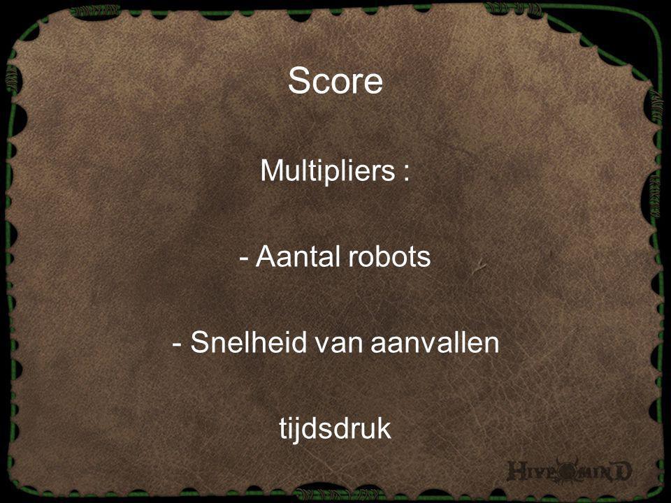 Score Multipliers : - Aantal robots - Snelheid van aanvallen tijdsdruk