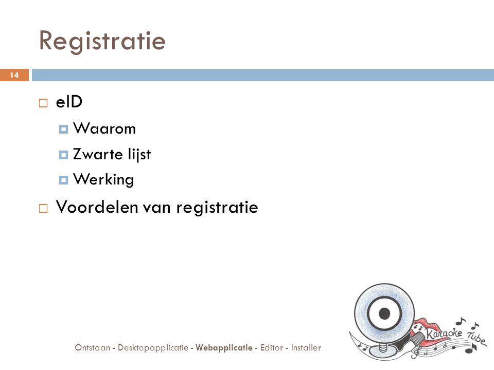 Registratie  eID  Waarom  Zwarte lijst  Werking  Voordelen van registratie 14 Ontstaan - Desktopapplicatie - Webapplicatie - Editor - Installer