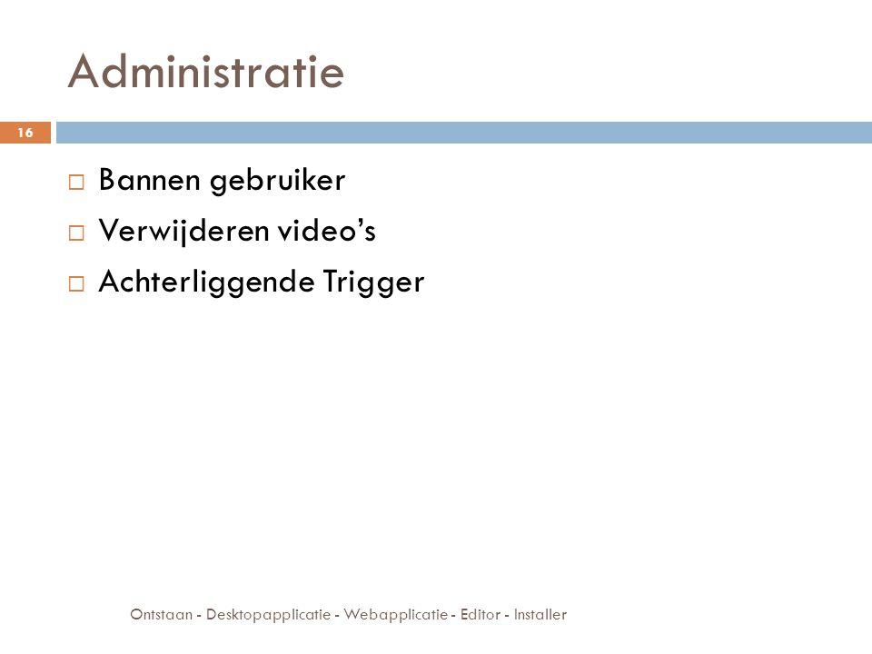 Administratie  Bannen gebruiker  Verwijderen video's  Achterliggende Trigger Ontstaan - Desktopapplicatie - Webapplicatie - Editor - Installer 16