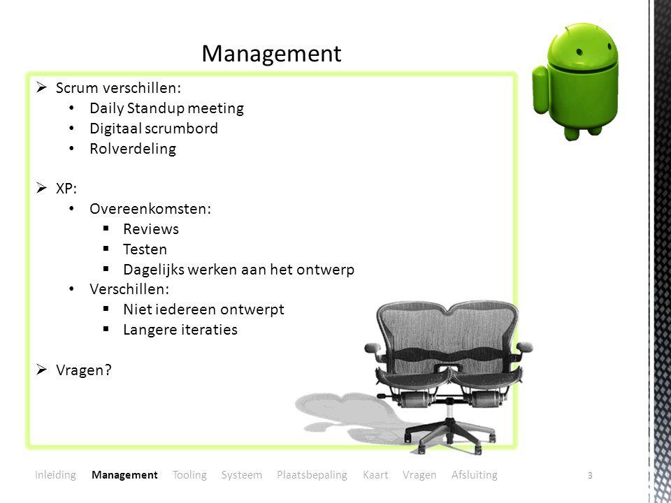 3 Management  Scrum verschillen: Daily Standup meeting Digitaal scrumbord Rolverdeling  XP: Overeenkomsten:  Reviews  Testen  Dagelijks werken aan het ontwerp Verschillen:  Niet iedereen ontwerpt  Langere iteraties  Vragen.