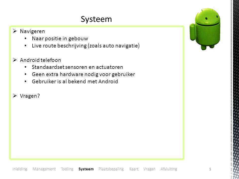 5 Systeem  Navigeren Naar positie in gebouw Live route beschrijving (zoals auto navigatie)  Android telefoon Standaardset sensoren en actuatoren Geen extra hardware nodig voor gebruiker Gebruiker is al bekend met Android  Vragen.