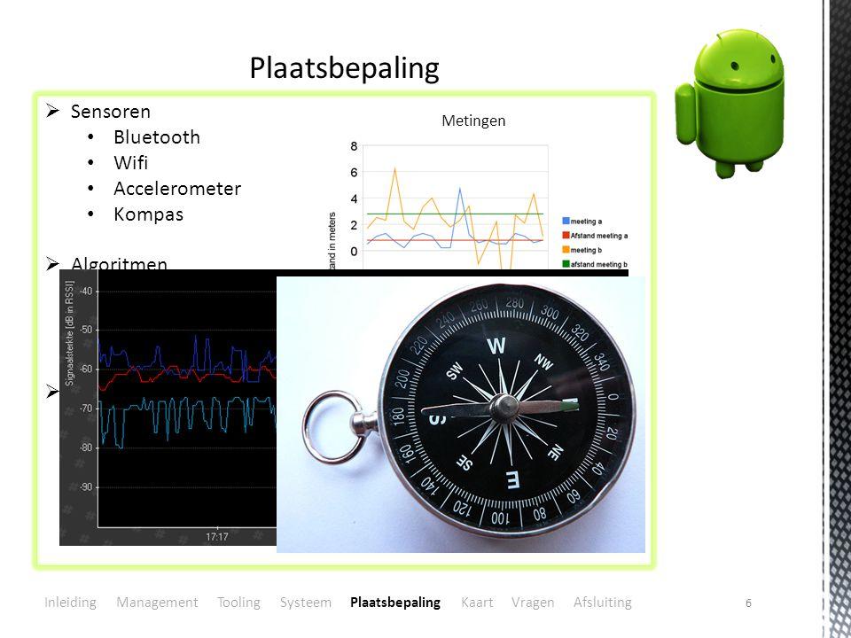 6 Plaatsbepaling  Sensoren Bluetooth Wifi Accelerometer Kompas  Algoritmen Kalman filter Triangulatie Signaalkaart  Vragen.