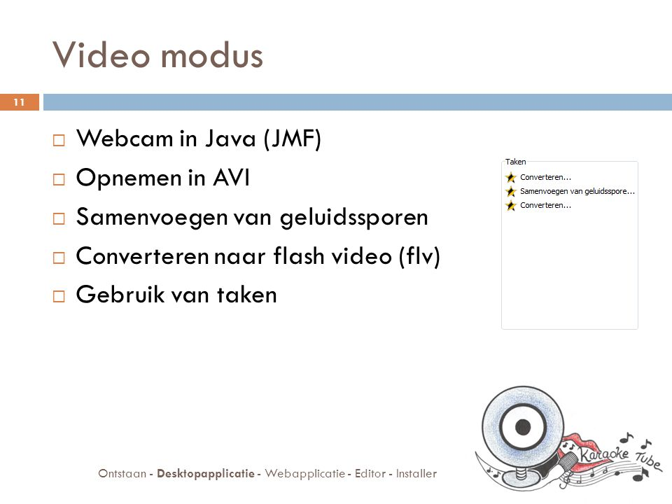 Video modus  Webcam in Java (JMF)  Opnemen in AVI  Samenvoegen van geluidssporen  Converteren naar flash video (flv)  Gebruik van taken 11 Ontstaan - Desktopapplicatie - Webapplicatie - Editor - Installer