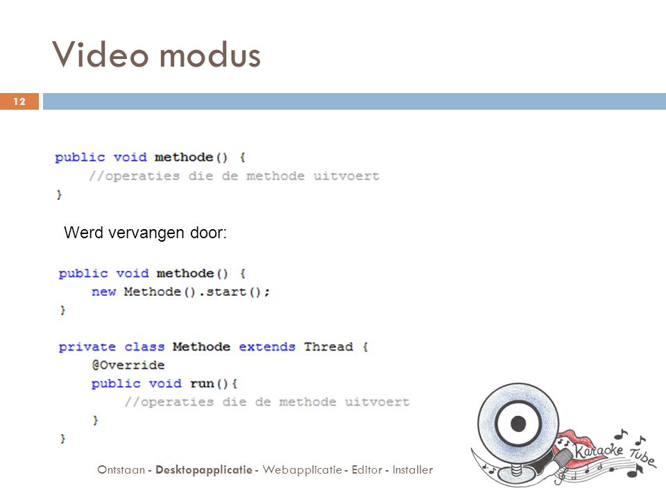 Desktopapplicatie  Karaoke modus  Video modus  Databank 13 Ontstaan - Desktopapplicatie - Webapplicatie - Editor - Installer