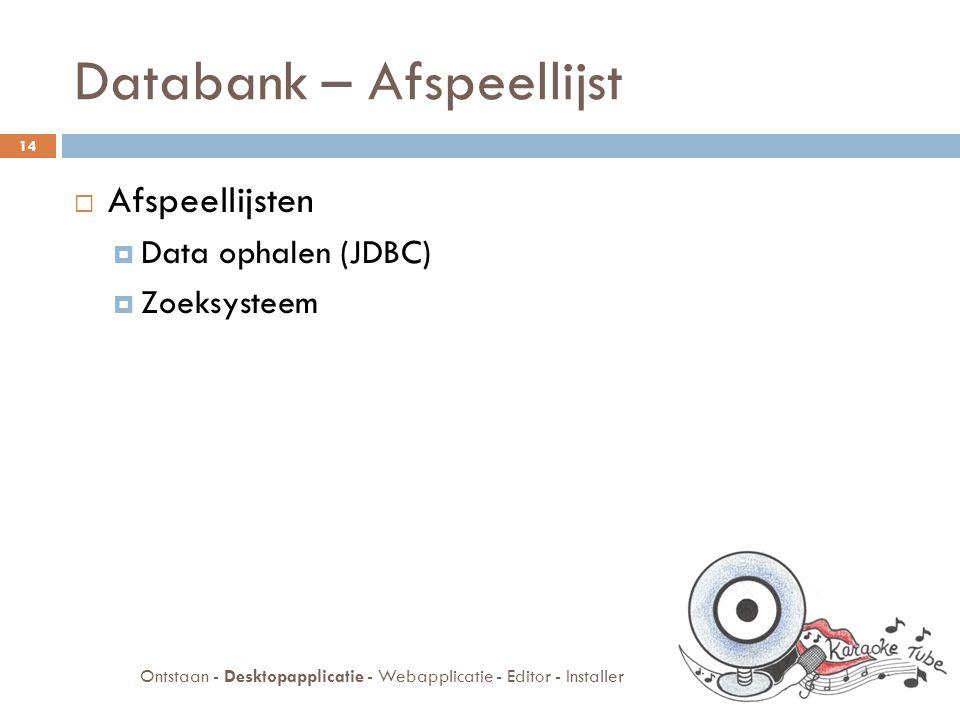 Databank – Afspeellijst  Afspeellijsten  Data ophalen (JDBC)  Zoeksysteem 14 Ontstaan - Desktopapplicatie - Webapplicatie - Editor - Installer
