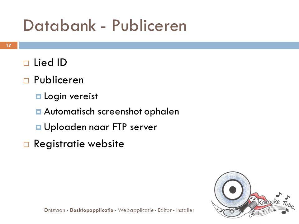 Databank - Publiceren  Lied ID  Publiceren  Login vereist  Automatisch screenshot ophalen  Uploaden naar FTP server  Registratie website 17 Ontstaan - Desktopapplicatie - Webapplicatie - Editor - Installer