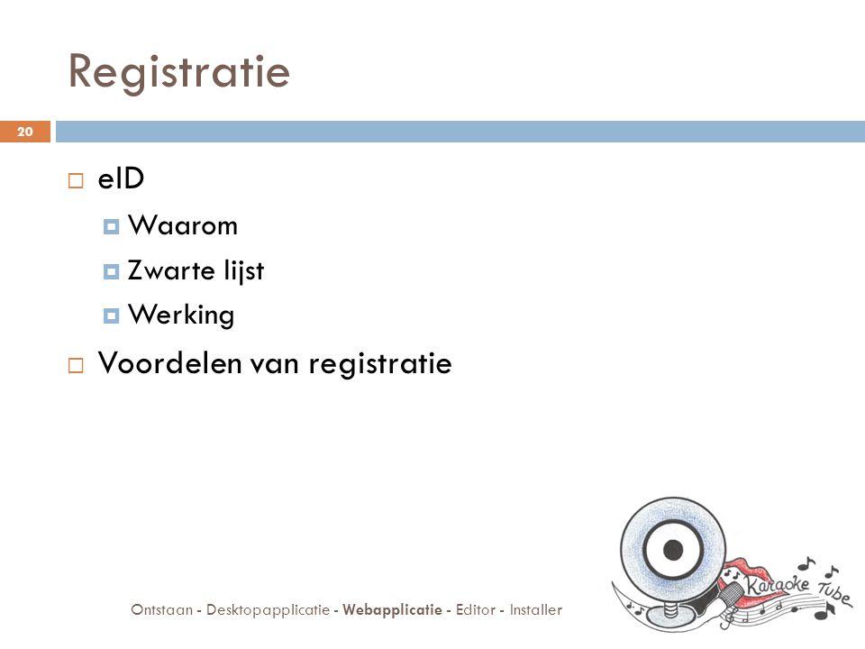 Webapplicatie  Registratie  Administratie  Commentaar  Rating Ontstaan - Desktopapplicatie - Webapplicatie - Editor - Installer 21