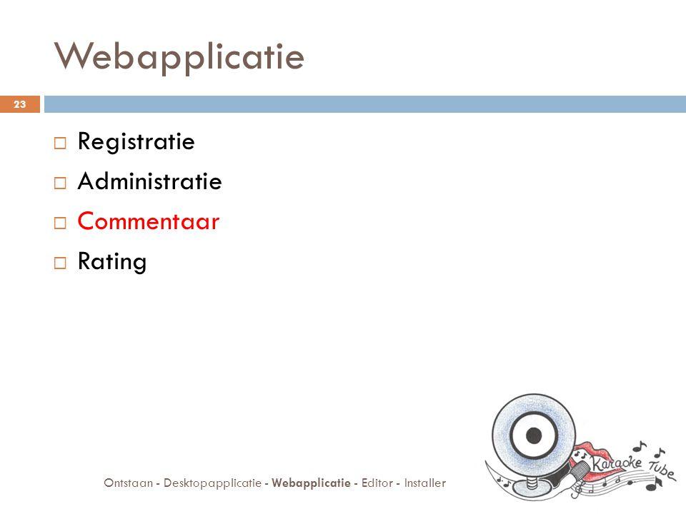 Webapplicatie  Registratie  Administratie  Commentaar  Rating 23 Ontstaan - Desktopapplicatie - Webapplicatie - Editor - Installer