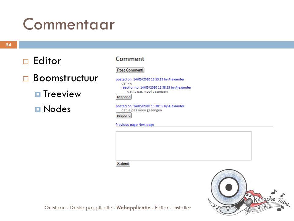 Webapplicatie  Registratie  Administratie  Commentaar  Rating 25 Ontstaan - Desktopapplicatie - Webapplicatie - Editor - Installer