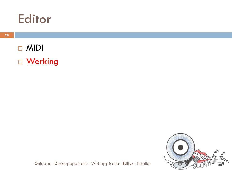 Werking  Genereer tekst editor  Kanaal kiezen  Hoe editeren  Vervang tekst editor 30 Ontstaan - Desktopapplicatie - Webapplicatie - Editor - Installer