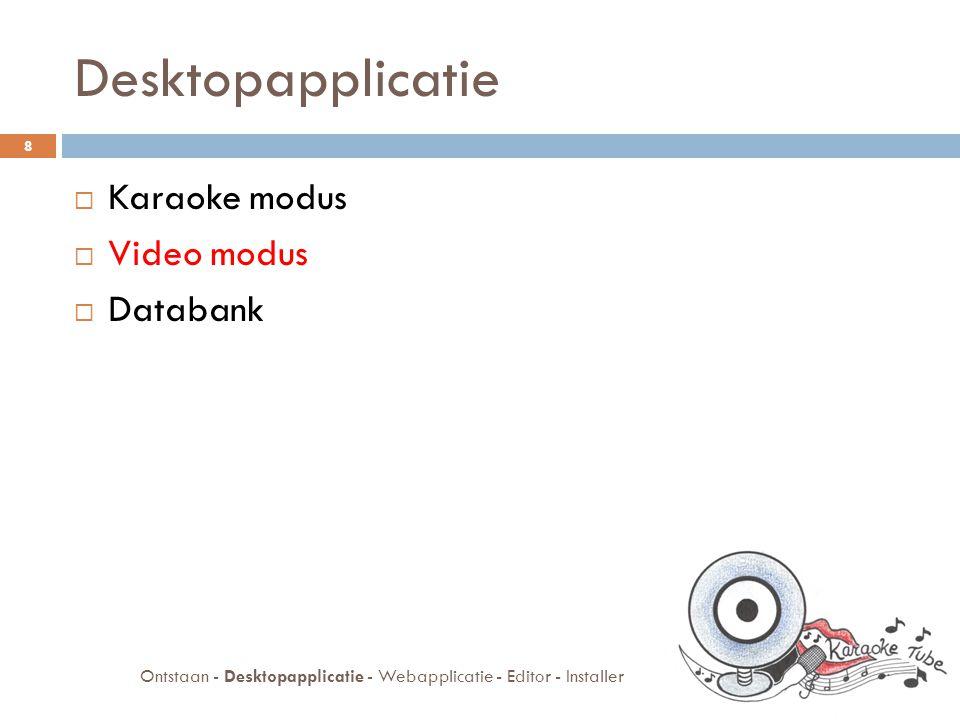Video modus  Webcam in Java (JMF)  Opnemen in AVI  Samenvoegen van geluidssporen  Converteren naar flash video (flv) 9 Ontstaan - Desktopapplicatie - Webapplicatie - Editor - Installer