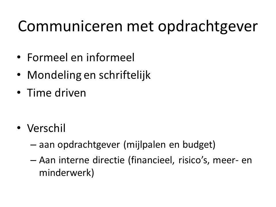 Communiceren met opdrachtgever Formeel en informeel Mondeling en schriftelijk Time driven Verschil – aan opdrachtgever (mijlpalen en budget) – Aan int