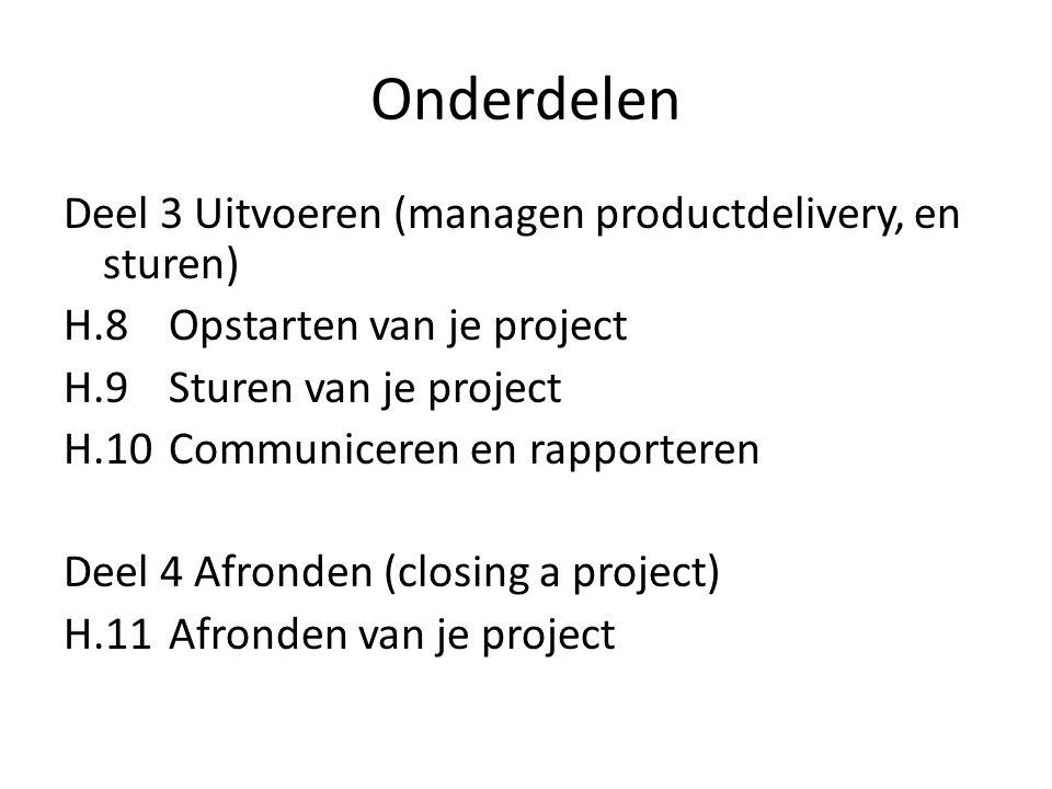Onderdelen Deel 3 Uitvoeren (managen productdelivery, en sturen) H.8Opstarten van je project H.9Sturen van je project H.10 Communiceren en rapporteren