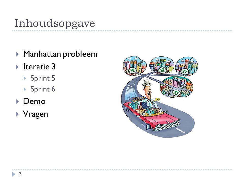 Inhoudsopgave  Manhattan probleem  Iteratie 3  Sprint 5  Sprint 6  Demo  Vragen 2