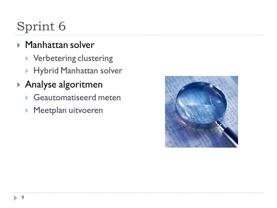 Sprint 6 9  Manhattan solver  Verbetering clustering  Hybrid Manhattan solver  Analyse algoritmen  Geautomatiseerd meten  Meetplan uitvoeren