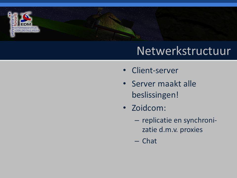 Netwerkstructuur Client-server Server maakt alle beslissingen.