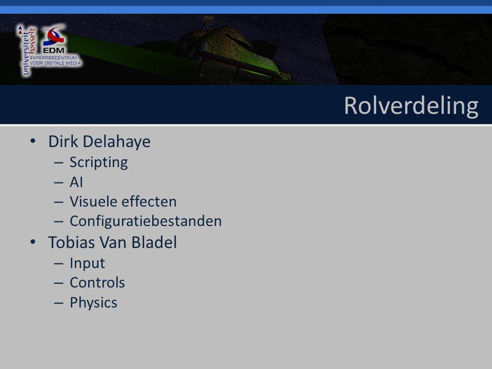 Rolverdeling Dirk Delahaye – Scripting – AI – Visuele effecten – Configuratiebestanden Tobias Van Bladel – Input – Controls – Physics
