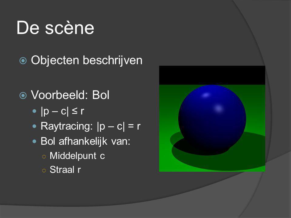 De scène  Objecten beschrijven  Voorbeeld: Bol |p – c| ≤ r Raytracing: |p – c| = r Bol afhankelijk van: ○ Middelpunt c ○ Straal r
