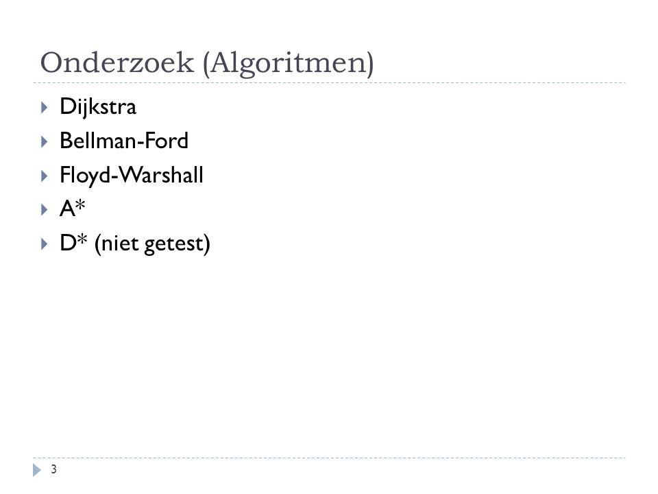 Onderzoek (Algoritmen)  Dijkstra  Bellman-Ford  Floyd-Warshall  A*  D* (niet getest) 3