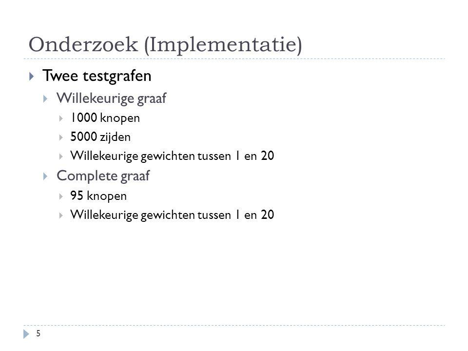 Onderzoek (Implementatie)  Twee testgrafen  Willekeurige graaf  1000 knopen  5000 zijden  Willekeurige gewichten tussen 1 en 20  Complete graaf  95 knopen  Willekeurige gewichten tussen 1 en 20 5