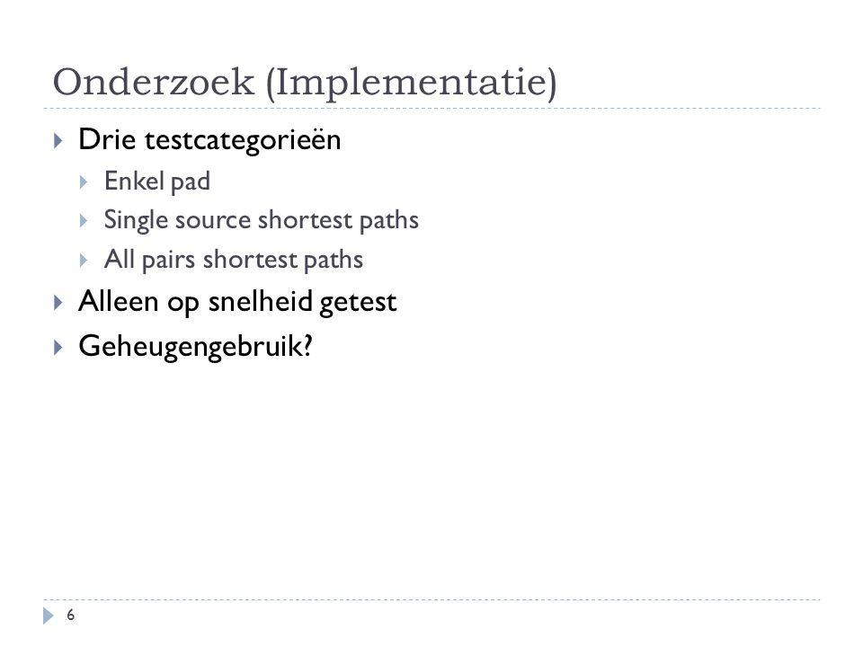 Onderzoek (Implementatie)  Drie testcategorieën  Enkel pad  Single source shortest paths  All pairs shortest paths  Alleen op snelheid getest  Geheugengebruik.