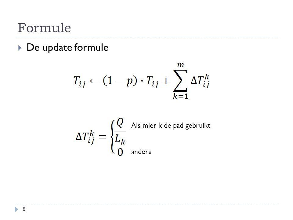 Formule 8  De update formule Als mier k de pad gebruikt anders