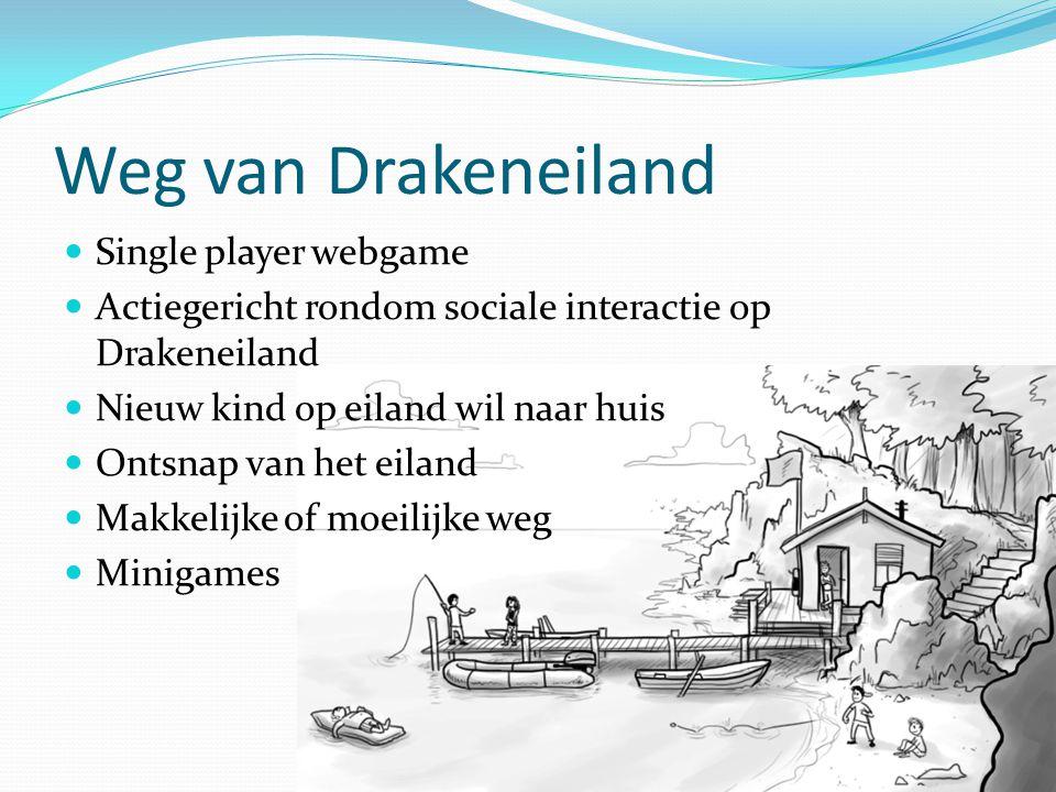 Weg van Drakeneiland Single player webgame Actiegericht rondom sociale interactie op Drakeneiland Nieuw kind op eiland wil naar huis Ontsnap van het e