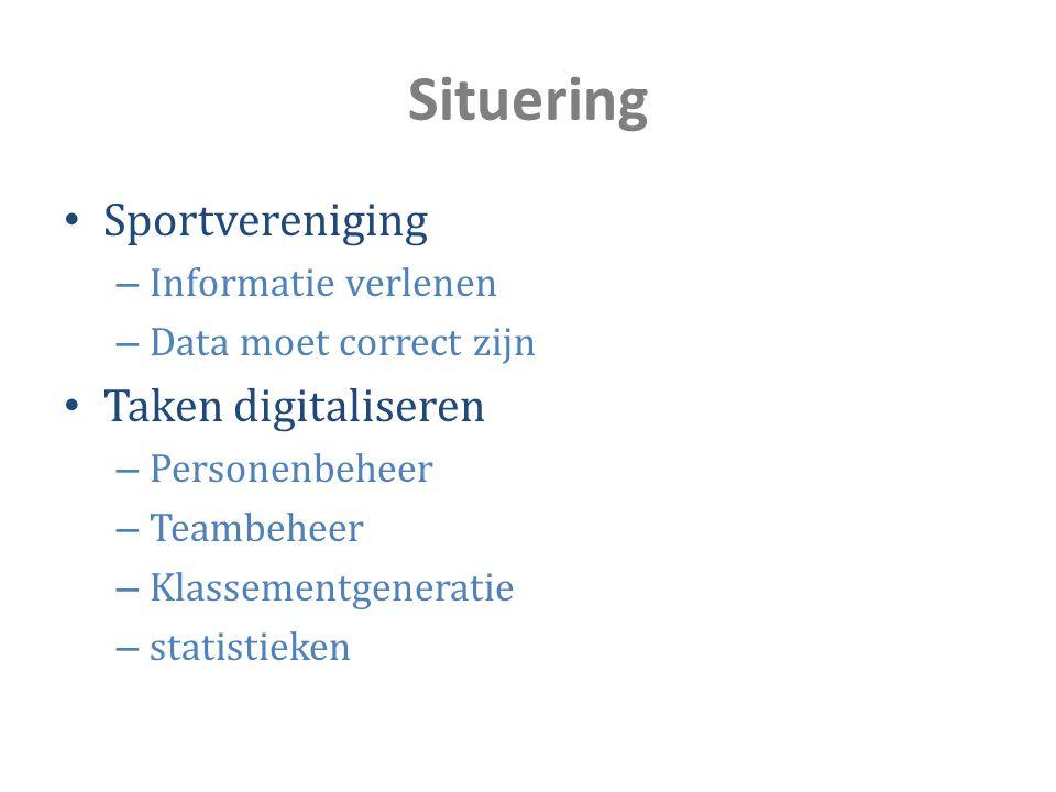 Situering Sportvereniging – Informatie verlenen – Data moet correct zijn Taken digitaliseren – Personenbeheer – Teambeheer – Klassementgeneratie – sta