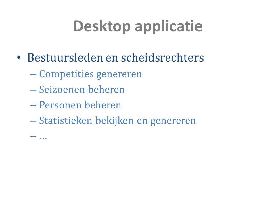 Desktop applicatie Bestuursleden en scheidsrechters – Competities genereren – Seizoenen beheren – Personen beheren – Statistieken bekijken en generere