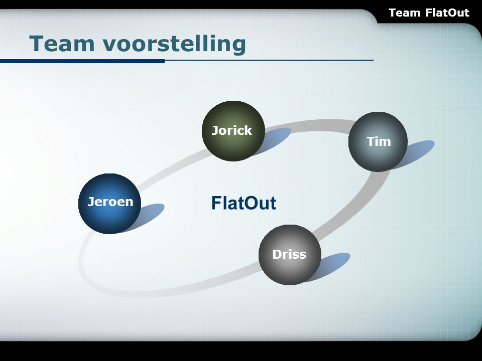 Teamvoorsteling FlatOut T op Quality F lexibility O bject-Oriented Programming U ser Friendly L ong-term Solution A gile Modeling Tumbador VZW Team FlatOut