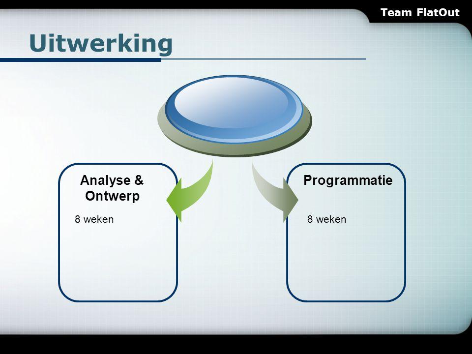 Uitwerking Analyse & Ontwerp Programmatie 8 weken Team FlatOut