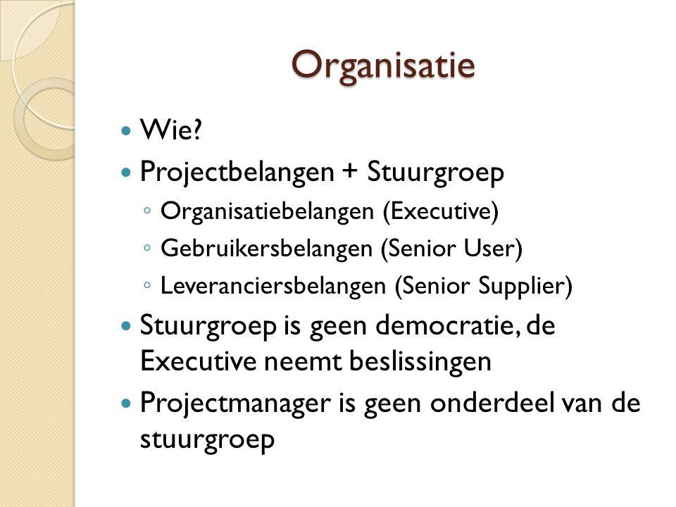Organisatie Wie? Projectbelangen + Stuurgroep ◦ Organisatiebelangen (Executive) ◦ Gebruikersbelangen (Senior User) ◦ Leveranciersbelangen (Senior Supp