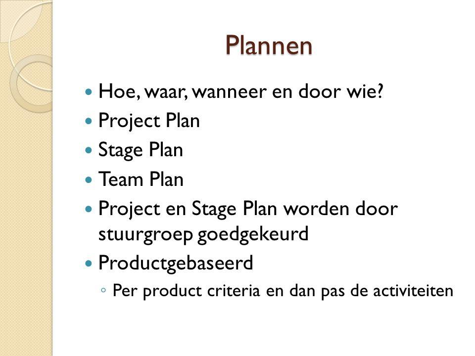 Plannen Hoe, waar, wanneer en door wie? Project Plan Stage Plan Team Plan Project en Stage Plan worden door stuurgroep goedgekeurd Productgebaseerd ◦