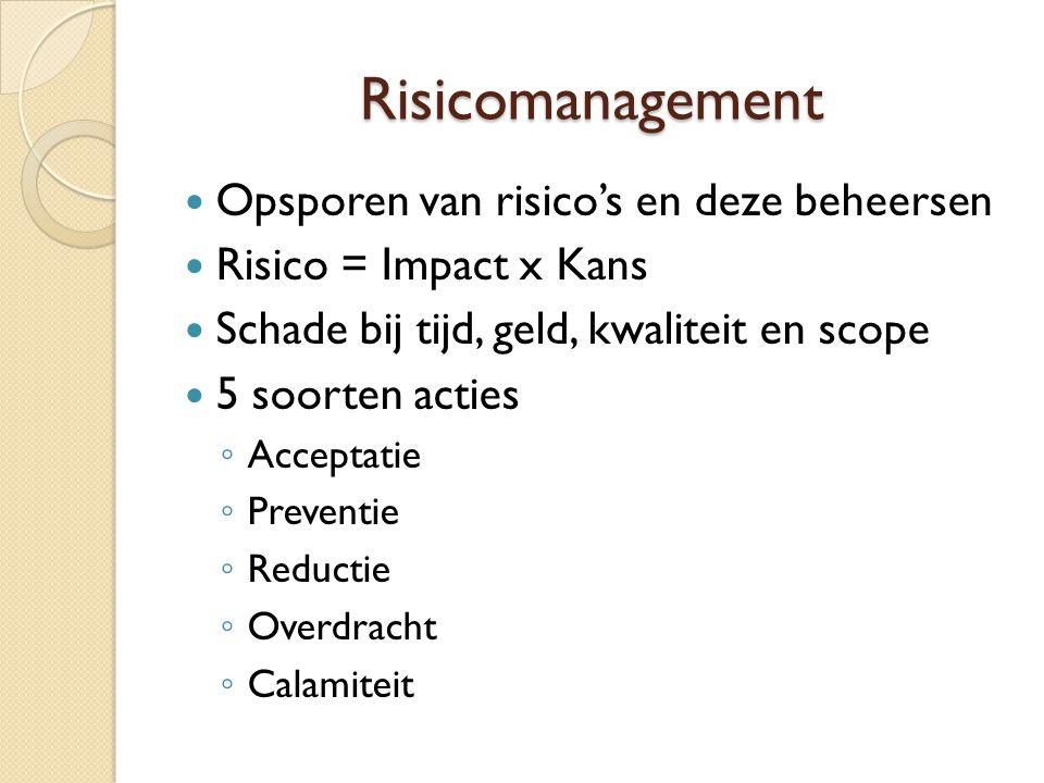 Risicomanagement Opsporen van risico's en deze beheersen Risico = Impact x Kans Schade bij tijd, geld, kwaliteit en scope 5 soorten acties ◦ Acceptati