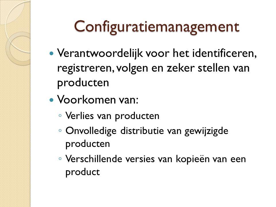 Configuratiemanagement Verantwoordelijk voor het identificeren, registreren, volgen en zeker stellen van producten Voorkomen van: ◦ Verlies van produc
