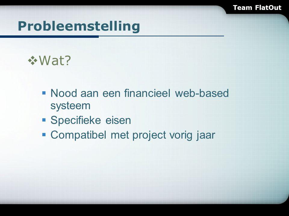 Probleemstelling  Wat?  Nood aan een financieel web-based systeem  Specifieke eisen  Compatibel met project vorig jaar Team FlatOut