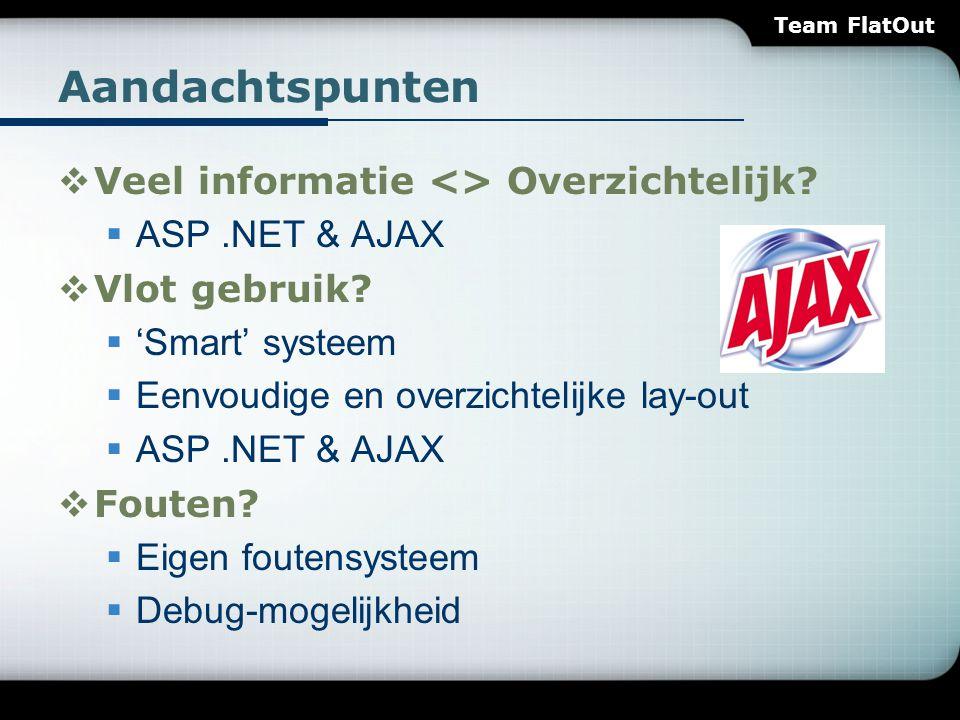 Aandachtspunten  Veel informatie <> Overzichtelijk?  ASP.NET & AJAX  Vlot gebruik?  'Smart' systeem  Eenvoudige en overzichtelijke lay-out  ASP.