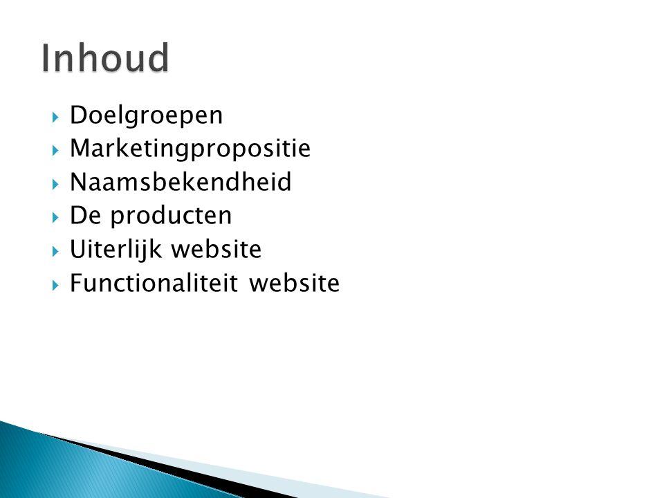  Doelgroepen  Marketingpropositie  Naamsbekendheid  De producten  Uiterlijk website  Functionaliteit website
