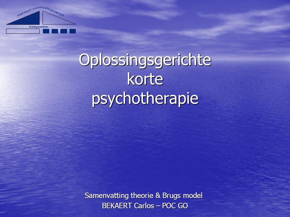 Oplossingsgerichte korte psychotherapie Samenvatting theorie & Brugs model BEKAERT Carlos – POC GO BEKAERT Carlos – POC GO
