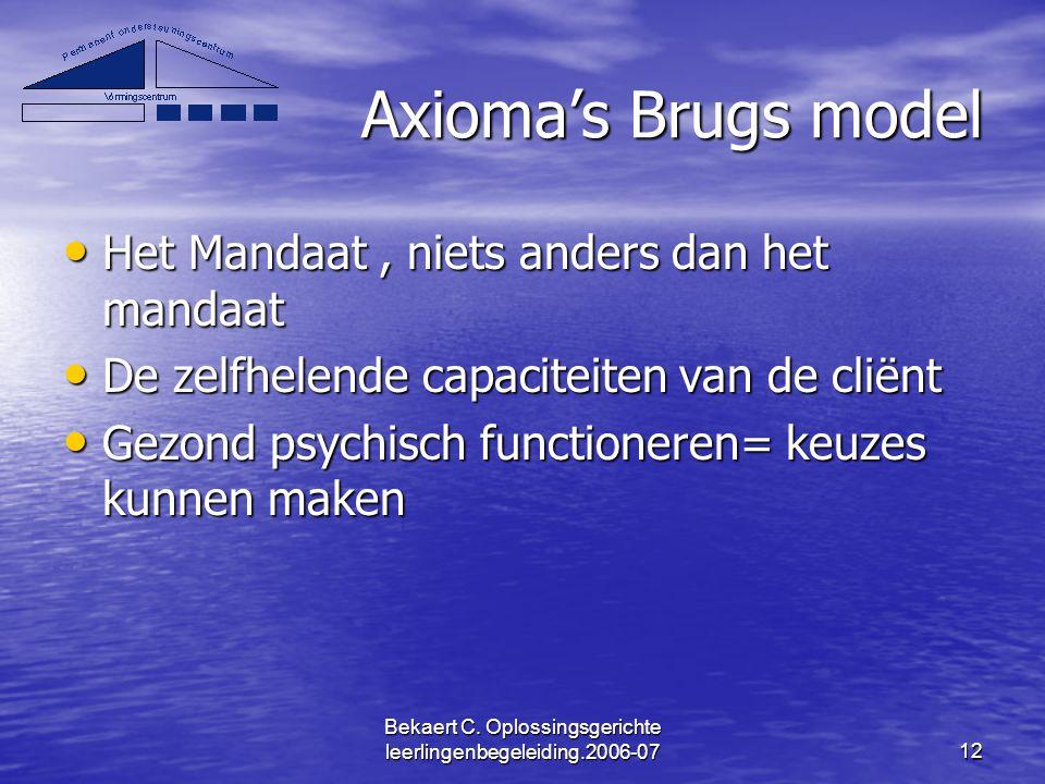 Bekaert C. Oplossingsgerichte leerlingenbegeleiding.2006-0712 Axioma's Brugs model Het Mandaat, niets anders dan het mandaat Het Mandaat, niets anders