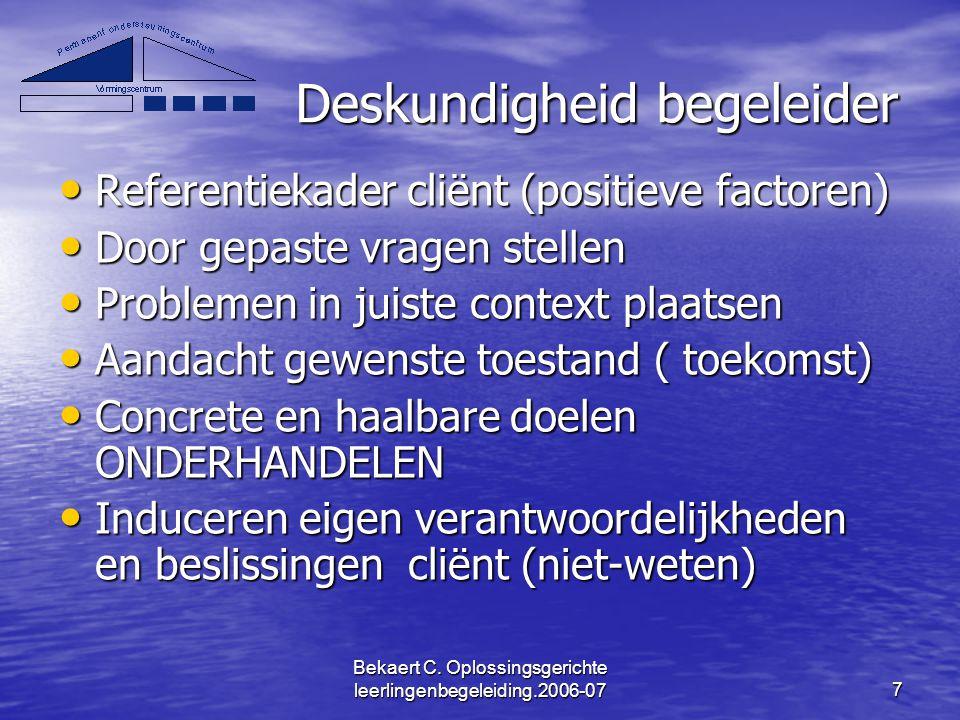 Bekaert C. Oplossingsgerichte leerlingenbegeleiding.2006-077 Deskundigheid begeleider Referentiekader cliënt (positieve factoren) Referentiekader clië