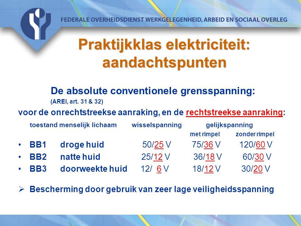 Praktijkklas elektriciteit: aandachtspunten De absolute conventionele grensspanning: (AREI, art. 31 & 32) voor de onrechtstreekse aanraking, en de rec